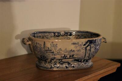 Very Old Blue & White Twin Handled Bowl Unknown Pattern • 8.50£