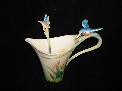 Franz Porcelain Collection  kingfisher Design Creamer And Spoon • 49£