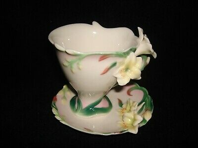 Franz Porcelain Yellow Flowers Design Collection Tea Cup And Saucer • 55£