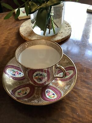 Victorian Cup And Saucer Beautiful Hand Painted Cartouche,s • 9.99£