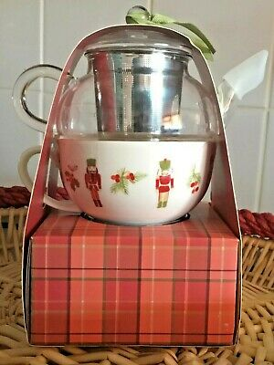 BNIB Laura Ashley Tea For One Ceramic Cup & Glass Teapot  With Loose Tea   • 6.99£