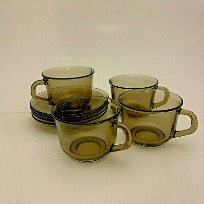 Arcoroc France Smoked Brown Glass Coffee Tea Cup Saucer Set Of 4 • 12.70£