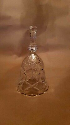 Vintage Style Cut-Glass Crystal Dinner Bell With Ringer On Chain • 12£