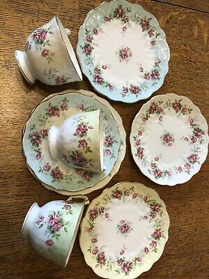 Aynsley Grotto Rose Part Tea Set Cups Saucer Plates Vintage China • 29.10£