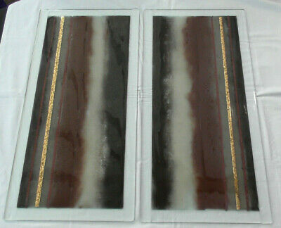 2x Large Sg Bowen Fused Glass Wall Art Panel's Signed • 500£