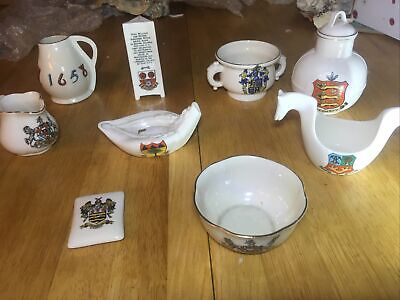 W H Goss Crested China 9 Diverse Interesting Pieces • 1£