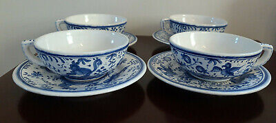 Set Of 4 X Vintage Portugese Filcer Blue And White Handpainted Cups And Saucers • 10£