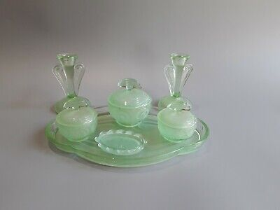Bagley Rare Frosted Green Dressing Table Set Vgc • 35£