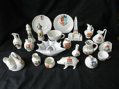 Crested Ware , Job Lot Of 21 Items , Some Very Interesting Ones , Good Condition • 14.99£