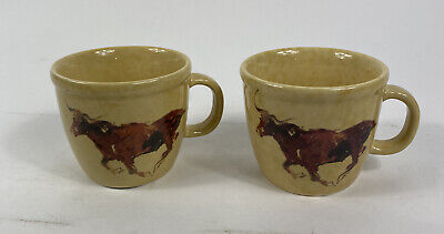 2 Cowboy Living Classic West Collection Coffee Cups Mugs Eve Armson Longhorn  • 13.59£
