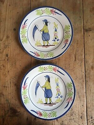 French Breton Quimper Faience Plates: Hand-painted Pair • 18£
