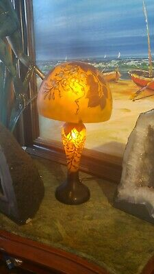 Exceptional Vintage  Etched French Galle  Cameo Art Glass Lamp  • 433.43£