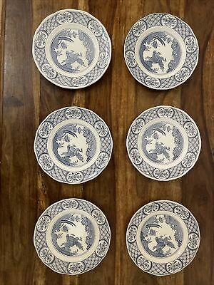 "6 X Old Chelsea Blue & White Side Plates, 7 3/4"", Vintage Old Furnivals (647812) • 40£"