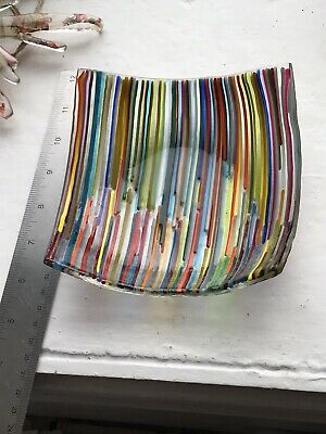 Fused Glass Stripes Dish. Handmade • 20£