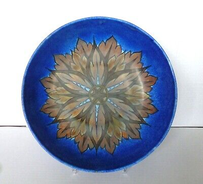 CLEWS & CO Art Deco CHAMELEON WARE  FLAME  Art Pottery Large Bowl In Cobalt Blue • 65£