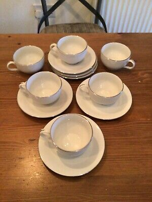 Tea Set Silver Rim White Porcelain Cups And Saucer Beautiful Set Of 6 • 6£