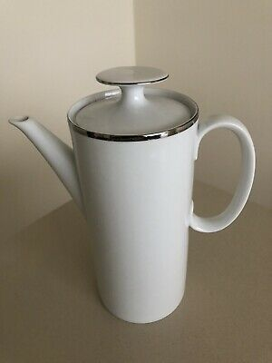 THOMAS CHINA WIDE PLATINUM BAND COFFEE POT Excellent Condition • 1.60£