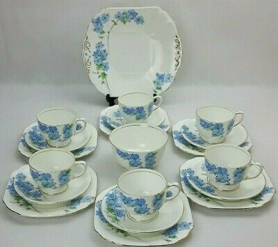 Radfords Fenton 20 Piece Bone China Tea Coffee Set -Blue Floral Art Deco Vintage • 58£