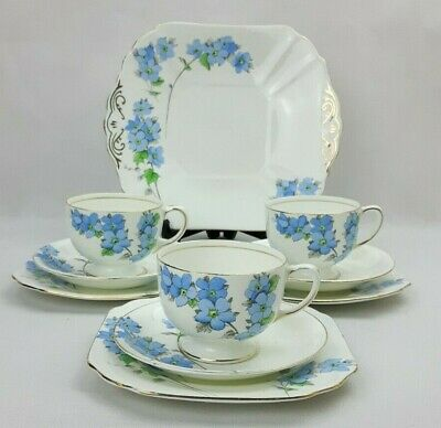 Radfords Fenton 10 Piece Bone China Tea Coffee Set -Blue Floral Art Deco Vintage • 32£
