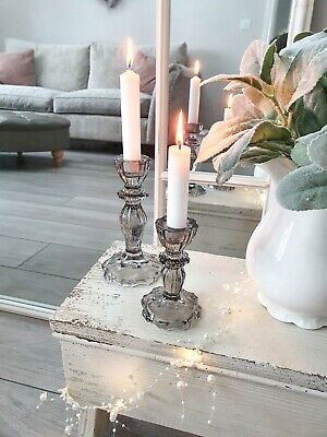 Beautiful French Inspired Vintage Grey Glass Candle Sticks S/2 • 19.50£