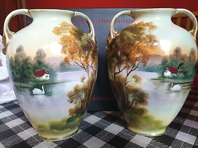 Gorgeous Vintage Noritake  Vases X2 Good Condition Lake Scenes  • 15£