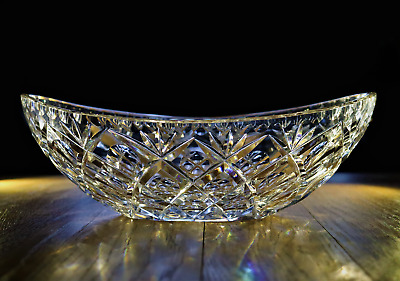 Heavy Crystal/Cut Glass Oval Fruit Bowl 12  Great Condition • 10£