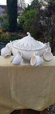 Hartley Greens And Co Leeds Pottery Creamware Stunning Pierced Punch Bowl/8 Cups • 99£