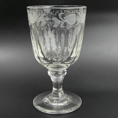 Heavy Victorian Engraved English Glass Rummer • 44£