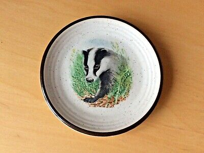 PURBECK POTTERY, Vintage Trinket Pin Dish / Tray  Badger • 3.50£