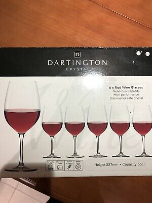 Six Dartington Crystal Red Wine Glasses • 13£