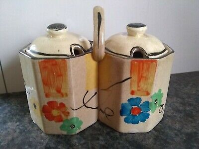 Wadeheath 2 Joined Jam/condiment Jars With Lids Pottery • 2.25£