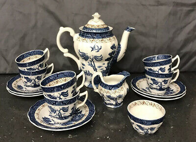 "Booths ""Real Old Willow"" A8025 Coffee Set VGC • 50£"