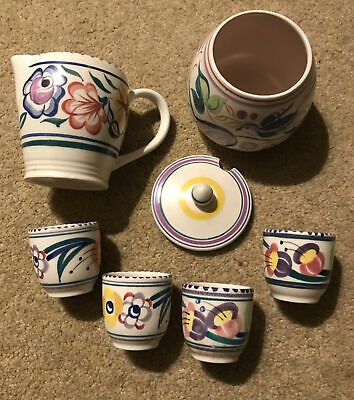 Poole Pottery Sugar Bowl Jug And Egg Cups • 10£