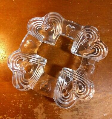 Pukeberg Sweden Crystal Glass Four Heart Candle Ring Holder Clear • 33.13£