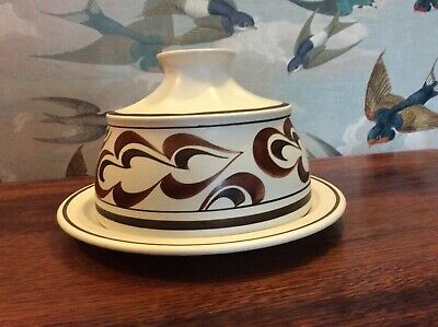 👀 Large Groovy Retro Vintage Radford Butter Cheese Dish Hand Painted Pottery • 22£