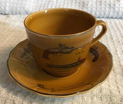 Cup And Large Saucer The Royal Worcester Group Palissy England Pistols • 2.50£
