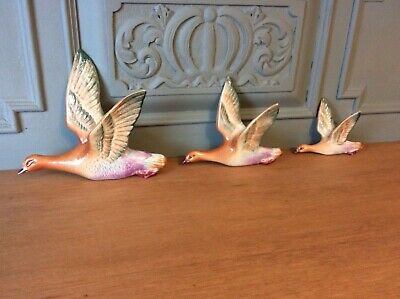 Rare Vintage Retro Set Of 3 Flying Wall Birds Geese Partridges Beswick Style • 125£