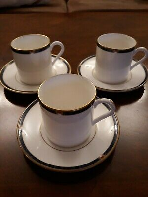 Royal Worcester Carina Blue 3 Coffee Cups & Saucers. Very Good Condition • 5.70£