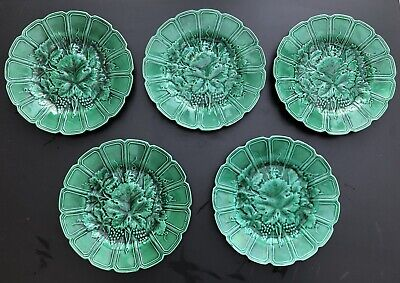 5 X Sarreguemines - Green Cabbage Plate - French Vintage - 19cm - Chipped Rear • 60£