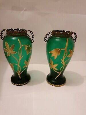 Pair Of Czech Bohemian Nouveau Vases With Metalware • 30£