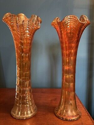 Vintage Carnival Glass Vases (Pair) With Fluted Top • 19.99£