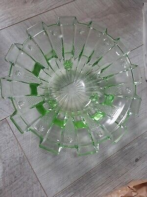 Vintage Green Glass  Fruit Bowl  With Feet  • 9.50£