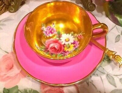 Rare & Beatiful Paragon Double Warranty Floating  Roses On Gold Cup  & Saucer • 150£