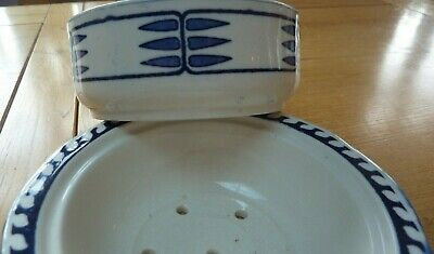 Antique Royal Doulton Caryl Soap Dish - Rare Blue Earthenware • 4£