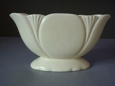 Vintage Art Deco Dartmouth Devon Pottery Mantle Vase Cream White Planter Flower • 8.99£