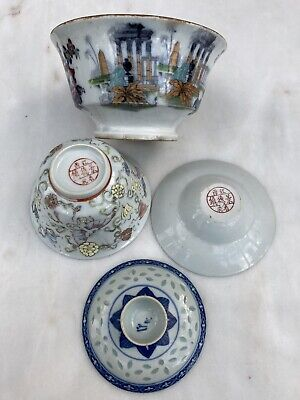 2 Oriental Bowls & Lids Some Marked On Base Used Condition • 12£