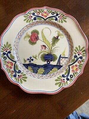 Vintage French Signed Faience Display Plate Hand Painted Initial H P 10 Inch • 12£