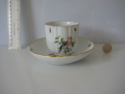 Rare Vintage Meissen Cup And Saucer Bird Insects Superb Quality Damaged • 79.99£