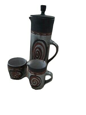 Briglin Pottery Coffee Pot And Lid With Matching Sugar Bowl And Cream Jug • 25£