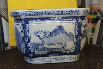Chinese Blue And White Oblong Plant Pot / Planter • 29.99£